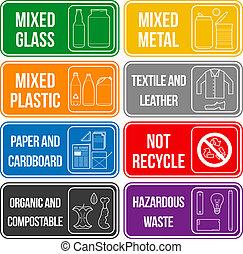 color, separado, etiquetas, desperdicio