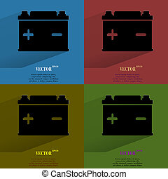 Color set Car battery. Flat modern web button with long shadow and space for your text.