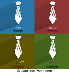 Color set Hipster tie. Flat modern web button with long shadow and space for your text