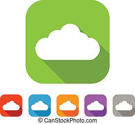 Color set of flat cloud icon