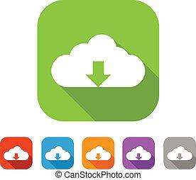 Color set of flat cloud upload icon