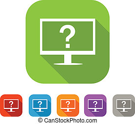 Color set of flat computer assistance icon