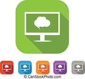 Color set of flat computer chat icon