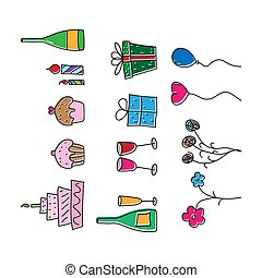 Color set of images for greetings. Stock illustration in the Doodle style, an empty outline isolated on a white background.