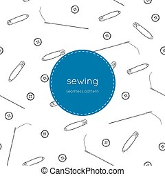 Color set of objects for sewing, seamless pattern vector.