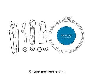Color set of objects for sewing, sketch tool vector.