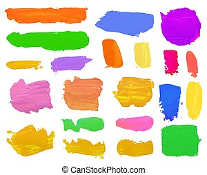 Color set paint draw brush on the white background.