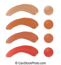Color shades of foundation make up. Face skin smears vector set isolated on white background