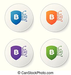 Color Shield with bitcoin icon isolated on white background. Cryptocurrency mining, blockchain technology, bitcoin, security, protect, digital money. Set icons in circle buttons. Vector Illustration