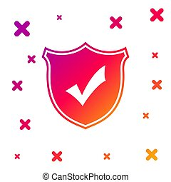 Color Shield with check mark icon isolated on white background. Gradient random dynamic shapes. Vector Illustration