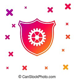 Color Shield with gear icon isolated on white background. Gradient random dynamic shapes. Vector Illustration