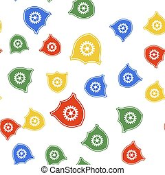 Color Shield with gear icon isolated seamless pattern on white background. Vector