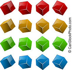 Color shiny 3D cubes isolated on white background.