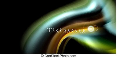 Color shiny light effects on black, liquid style...