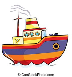 color ship, cartoon illustration, isolated object on a white background, vector illustration,