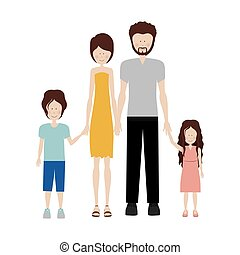 color silhouette family and dad with beard