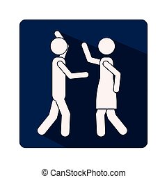 color silhouette frame with couple fighting
