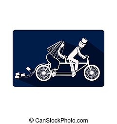 color silhouette frame with couple just married in bike