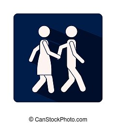 color silhouette frame with couple walking and holding hands