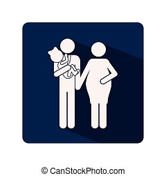 color silhouette frame with woman pregnant and man with child in arms