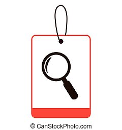 color silhouette label with magnifying glass