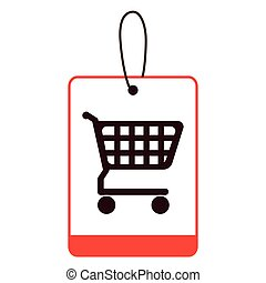 color silhouette label with shopping cart