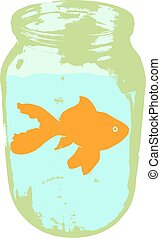 Color silhouette of aquarium fish in a jar with water on white background