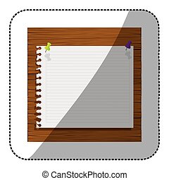 color silhouette of striped notebook sheet in blank on wood board