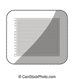 color silhouette of striped notebook sheet in blank