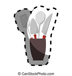 color silhouette sticker with cutlery in recipient
