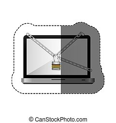 color silhouette sticker with laptop with chains and padlock