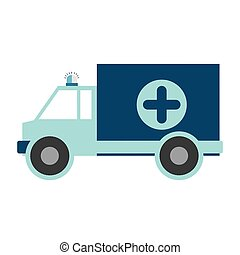 color silhouette with ambulance blue cross