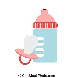 color silhouette with baby bottle and pacifier