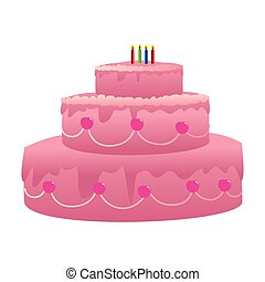 color silhouette with birthday cake and candles