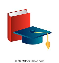 color silhouette with book and graduation hat