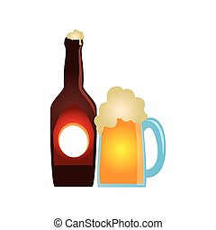 color silhouette with bottle and foamy beer glass
