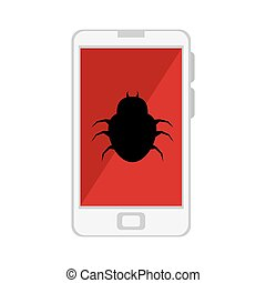 color silhouette with cell phone with virus beetle