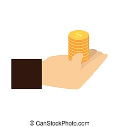 color silhouette with coins in hand