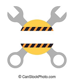 color silhouette with crossed wrenches and warning line vector illustration