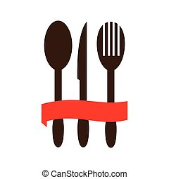 color silhouette with cutlery and ribbon