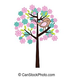 color silhouette with floral tree and bird