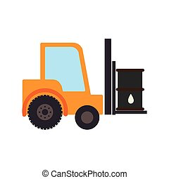 color silhouette with forklift truck with forks and barrel