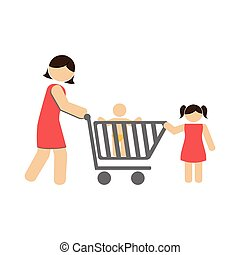 color silhouette with mom and kids and shopping cart