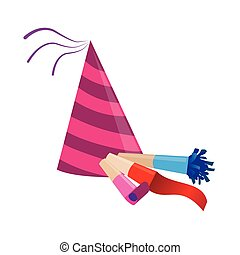 color silhouette with party hat and party blower