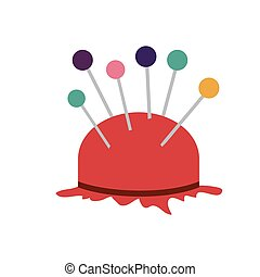 color silhouette with pincushion with pins icon vector illustration