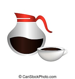 color silhouette with rounded glass jar of coffee with handle