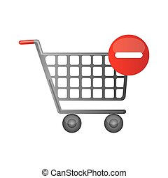 color silhouette with shopping cart and minus sign