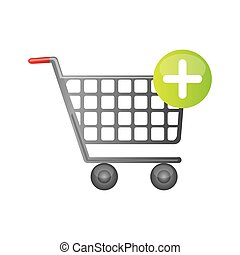 color silhouette with shopping cart and plus sign