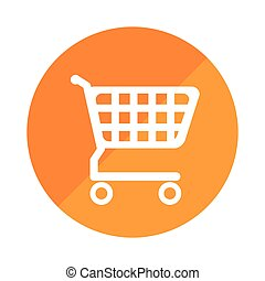 color silhouette with shopping cart in round frame