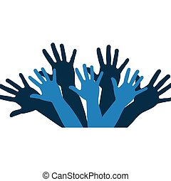 color silhouette with support hands in blue